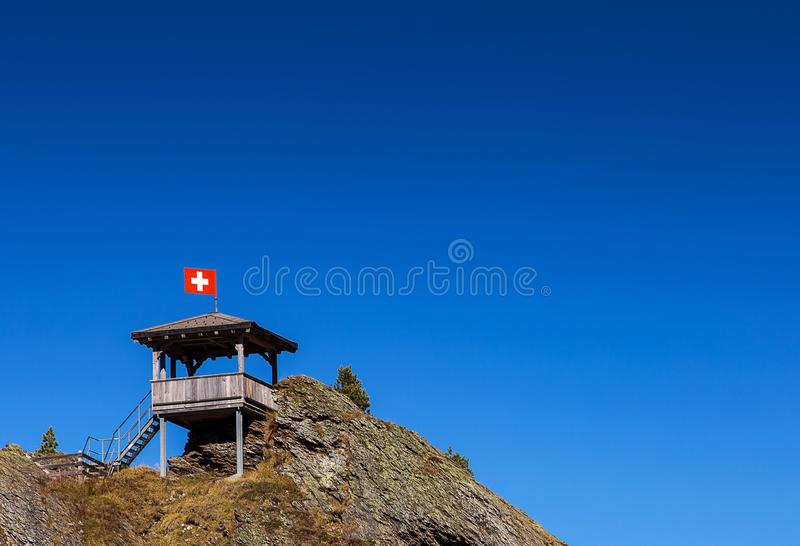 Amazing panorama view point on top of peak mountain for hiking or trail by tourist in Switzerland stock images