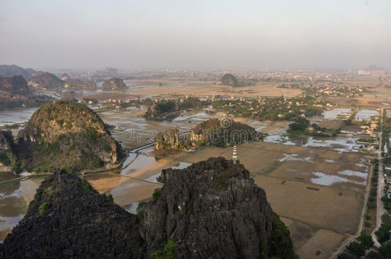 Amazing panorama view of the rice fields, limestone rocks and mo stock image