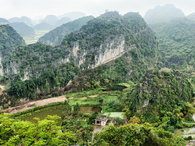 Amazing panorama view of Vietnamese village. Ninh Binh, Vietnam royalty free stock images
