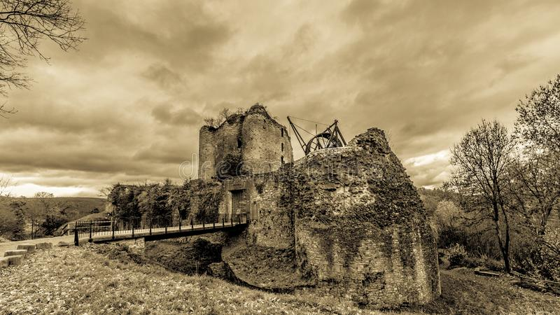 Amazing panoramic image in black and white of the castle Franchimont in ruins royalty free stock photo