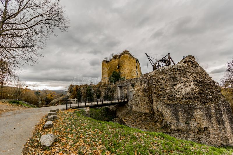 Amazing panoramic image of the castle Franchimont in ruins royalty free stock photos