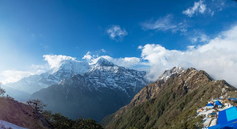 Amazing panoramic landscape photo of beautiful Himalaya mountains covered with snow at Mardi Himal trekking area. In Nepal royalty free stock images