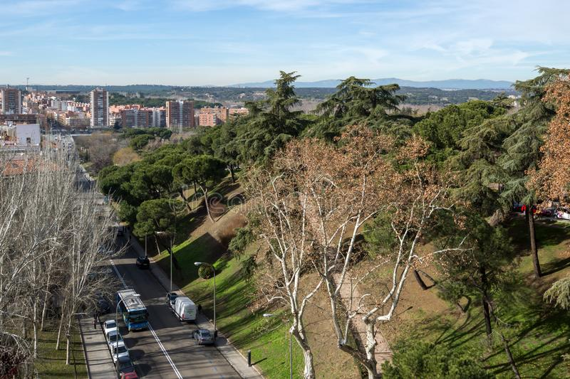 Amazing panoramic view of City of Madrid from Viaduct of Bailen, Spain stock photos