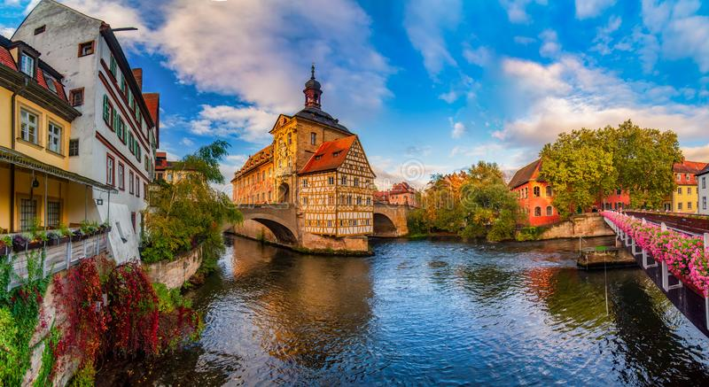 Amazing panoramic view of historic city center of Bamberg, Germany. UNESCO World Heritage Site stock images