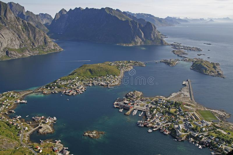 Amazing panoramic view on lovely arctic village Reine royalty free stock photo