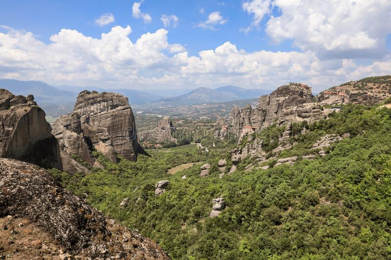 Amazing panoramic view of the Meteora valley in Kalabaka, Trikala, Thessaly, Greece. stock photo