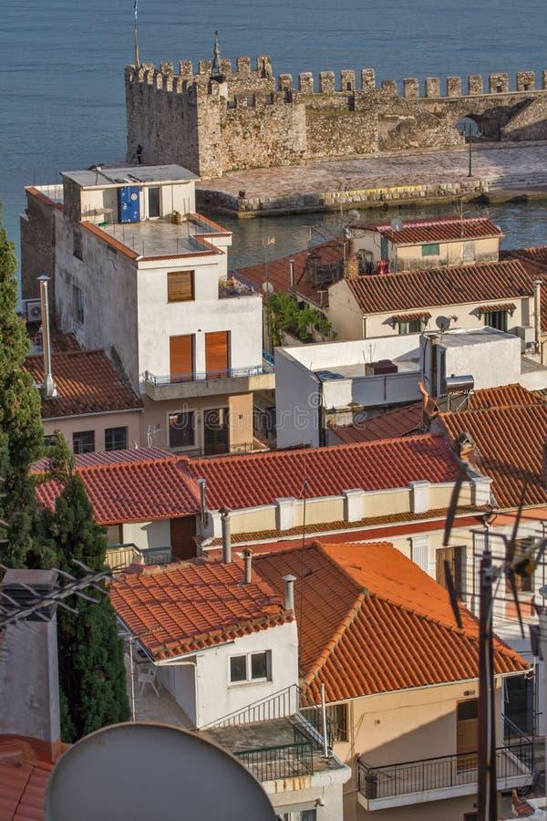 Amazing Panoramic view of Nafpaktos town, Western Greece. NAFPAKTOS, GREECE - MAY 28, 2015: Amazing Panoramic view of Nafpaktos town, Western Greece stock photos