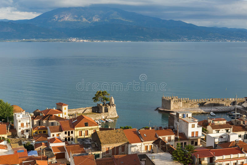 Amazing Panoramic view of Nafpaktos town, Western Greece. NAFPAKTOS, GREECE - MAY 28, 2015: Amazing Panoramic view of Nafpaktos town, Western Greece royalty free stock images
