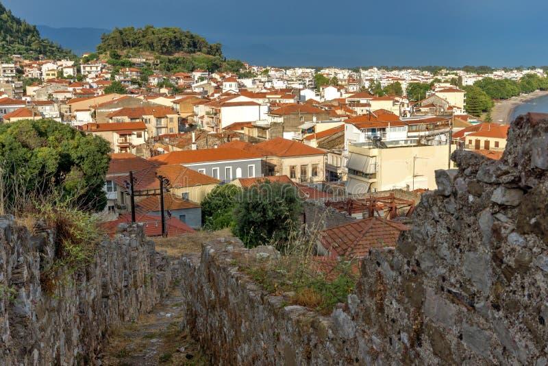 Amazing Panoramic view of Nafpaktos town, Western Greece. NAFPAKTOS, GREECE - MAY 28, 2015: Amazing Panoramic view of Nafpaktos town, Western Greece stock photography