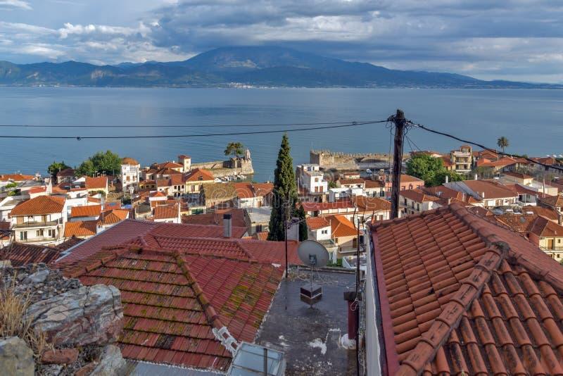 Amazing Panoramic view of Nafpaktos town, Western Greece. NAFPAKTOS, GREECE - MAY 28, 2015: Amazing Panoramic view of Nafpaktos town, Western Greece stock photo