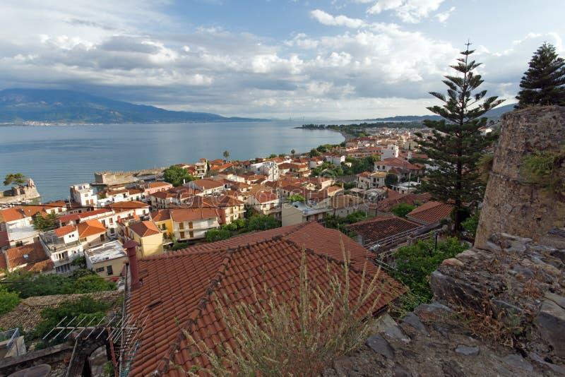 Amazing Panoramic view of Nafpaktos town, Western Greece. NAFPAKTOS, GREECE - MAY 28, 2015: Amazing Panoramic view of Nafpaktos town, Western Greece royalty free stock image