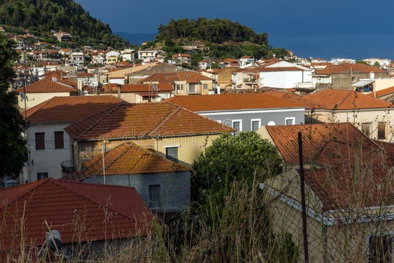 Amazing Panoramic view of Nafpaktos town, Western Greece. NAFPAKTOS, GREECE - MAY 28, 2015: Amazing Panoramic view of Nafpaktos town, Western Greece royalty free stock photography