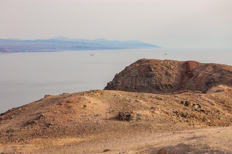 Amazing panoramic view on Red Sea, Jordan, Saudi Arabia from Mountain or Har Cfachot in Eilat ,Israel royalty free stock photo