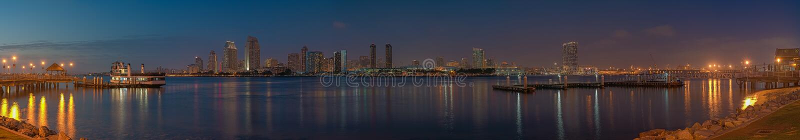 Amazing panoramic view of San Diego skyline from Coronado Island at sunset stock photos