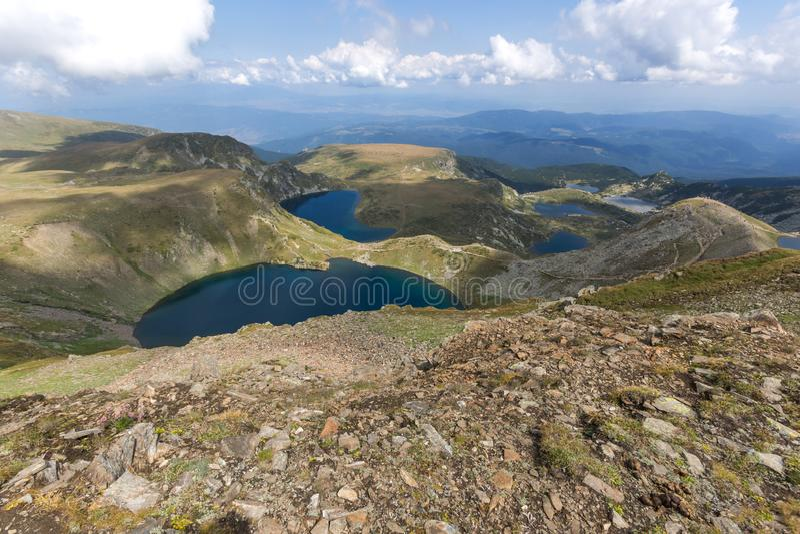 Panoramic view of The Seven Rila Lakes, Rila Mountain, Bulgaria. Amazing panoramic view of The Seven Rila Lakes, Rila Mountain, Bulgaria royalty free stock photo