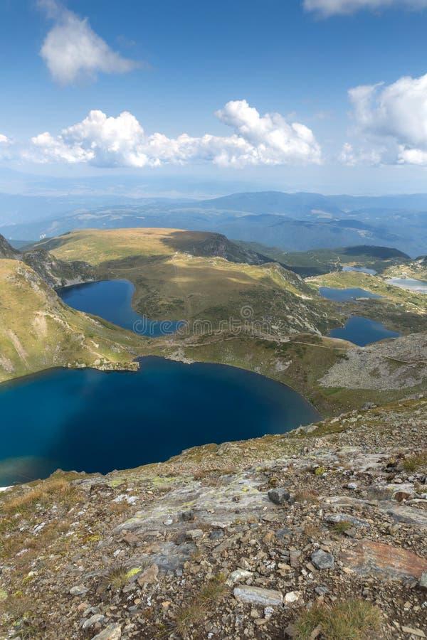 Panoramic view of The Seven Rila Lakes, Rila Mountain, Bulgaria. Amazing panoramic view of The Seven Rila Lakes, Rila Mountain, Bulgaria royalty free stock photos
