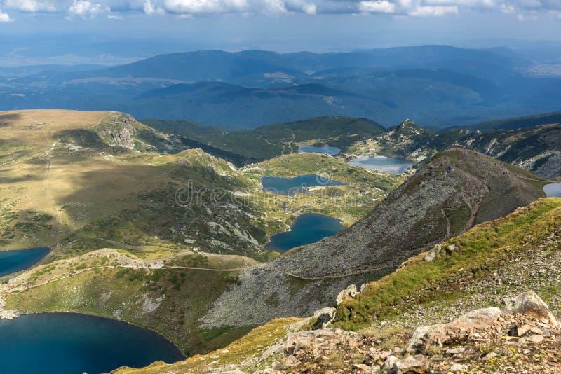Panoramic view of The Seven Rila Lakes, Rila Mountain, Bulgaria. Amazing panoramic view of The Seven Rila Lakes, Rila Mountain, Bulgaria stock photos