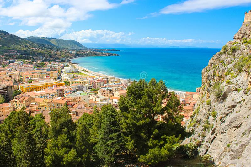 Amazing panoramic view of Sicilian city Cefalu located on the Tyrrhenian coast taken from a view point. The beautiful city. Is one of the major tourist royalty free stock images