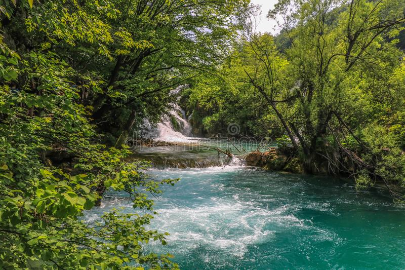 Amazing Plitvice Lakes National Park, Croatia. The Plitvice Lakes National Park, Croatia's most popular tourist attraction, was granted UNESCO World royalty free stock image