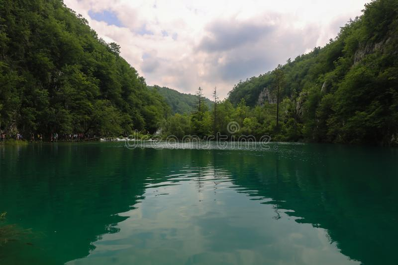 Amazing Plitvice Lakes National Park, Croatia. The Plitvice Lakes National Park, Croatia's most popular tourist attraction, was granted UNESCO World stock image