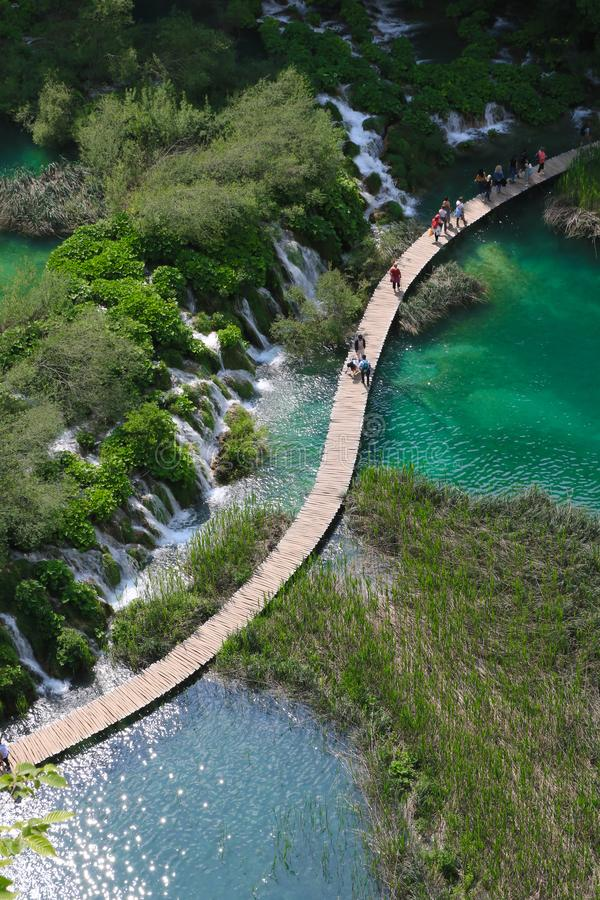 Amazing Plitvice Lakes National Park, Croatia. The Plitvice Lakes National Park, Croatia's most popular tourist attraction, was granted UNESCO World stock photography