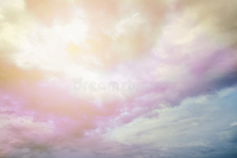 Rainbow cloud on the sky. Amazing Rainbow cloud beautiful color on the sky royalty free stock images