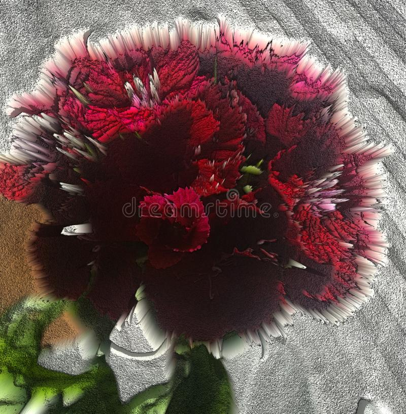 Amazing red flower digital art. Design, nature, garden royalty free illustration