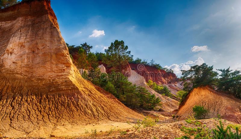 Amazing red landscape of Colorado Provencal, France.  stock image