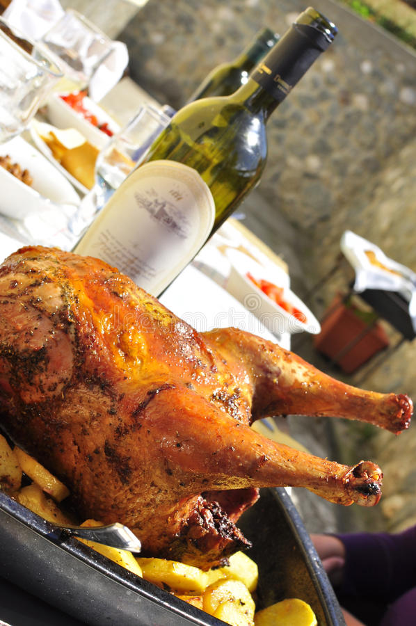 Download Amazing Roasted Chicken With Wine Bottle Stock Image - Image: 20967375