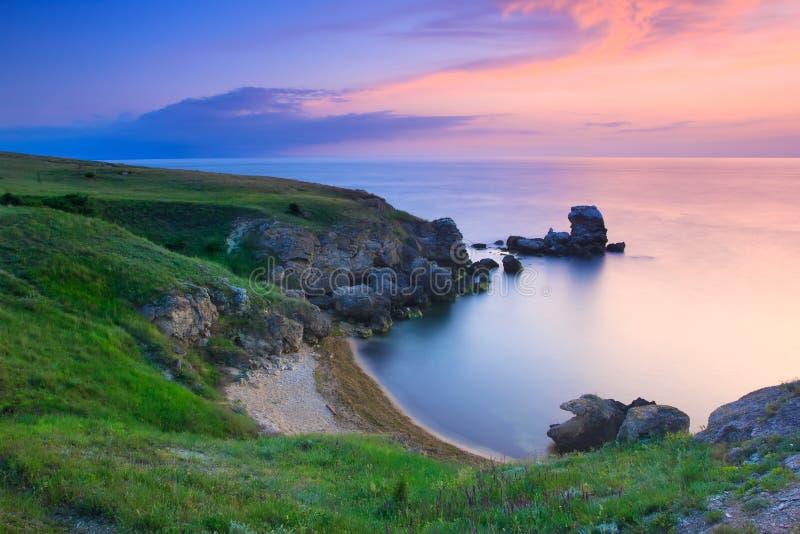 Amazing Rocky Coastline At Sunset Royalty Free Stock Photography