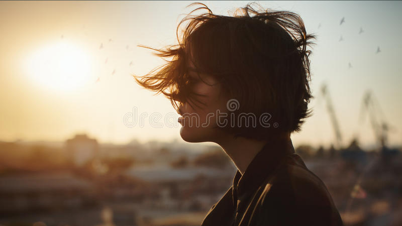 Amazing romantic woman profile stock photos