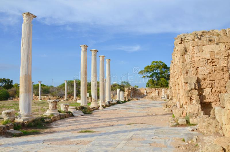 Amazing ruins of ancient Greek city-state Salamis located near Famagusta, Northern Cyprus taken on a sunny summer day. The significant archaelogical site is a stock photo