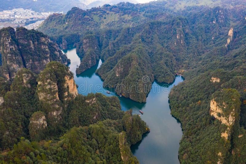 Amazing scenery from above view of BaoFeng lake in Zhangjiajie. Amazing scenery from aerial view of BaoFeng lake in Zhangjiajie royalty free stock photography