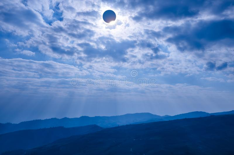 Scientific natural phenomenon. Total solar eclipse with diamond. Amazing scientific natural phenomenon. The Moon covering the Sun. Total solar eclipse with royalty free stock images