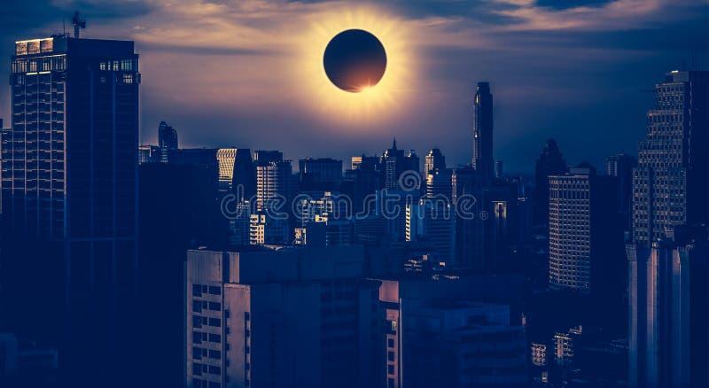 Amazing scientific natural phenomenon. Total solar eclipse glowing on sky. Amazing scientific natural phenomenon. The Moon covering the Sun. Total solar eclipse stock photo