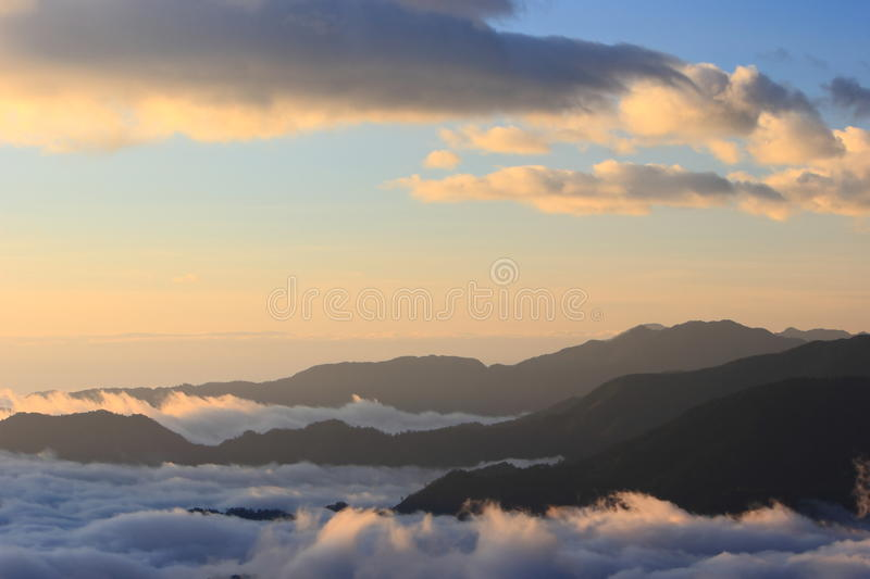 Download Amazing Sea Of Clouds With Sunset Stock Image - Image: 21235817