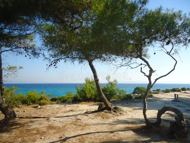 Amazing sea landscape by the blue sea in Greece royalty free stock images