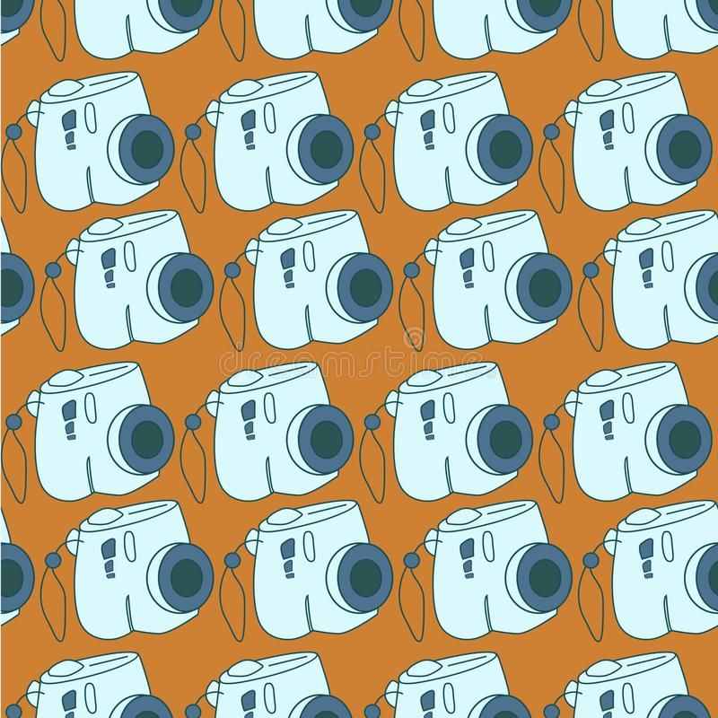Amazing seamless vintage camera pattern.Vector seamless pattern with camera. royalty free illustration