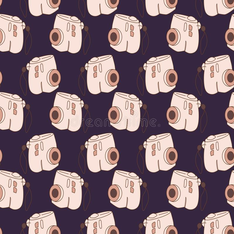 Amazing seamless vintage camera pattern.Vector seamless pattern with camera. stock illustration