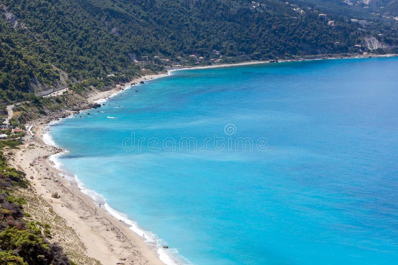 Seascape of Kokkinos Vrachos Beach with blue waters, Lefkada, Ionian Islands, Greece royalty free stock images