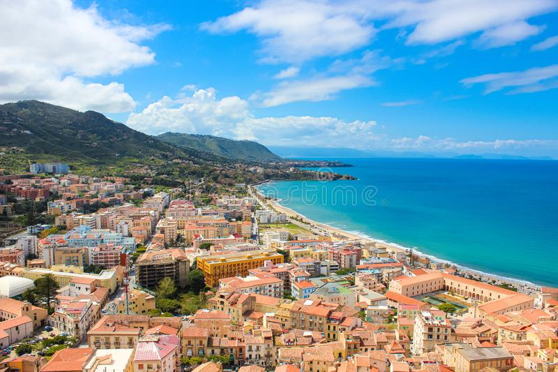 Amazing seascape of Sicilian Cefalu in Italy taken from adjacent hills overlooking the bay. The beautiful city on Tyrrhenian coast. Is popular summer holiday royalty free stock images