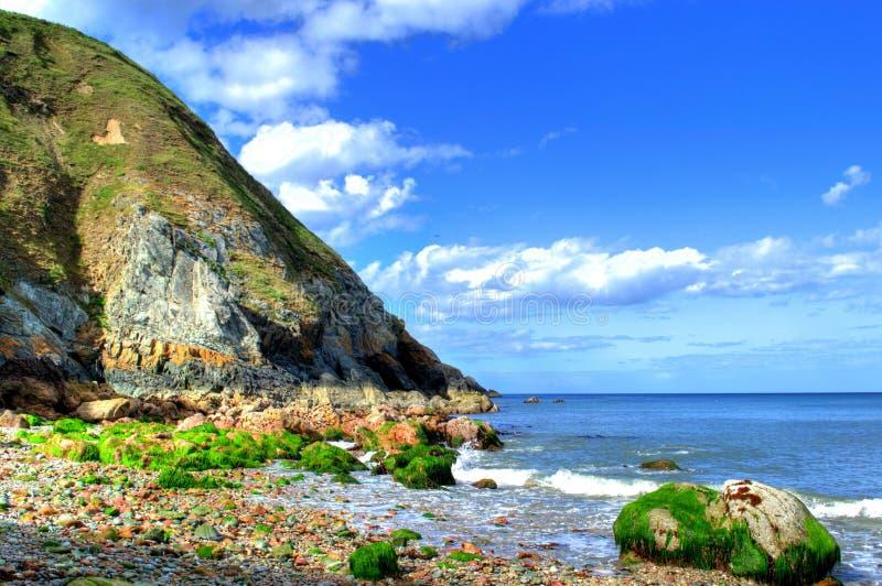 Amazing seashore landscape in Howth, Ireland. Amazing seashore landscape with cliffs and sea at Howth in Ireland stock photos