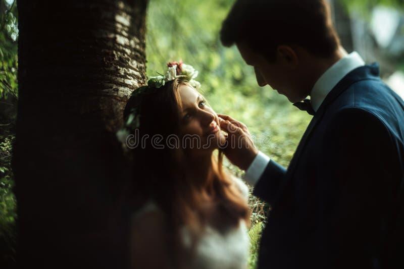Amazing sensual boho bride and stylish elegant groom, gentle touch in sunny woods stock photo