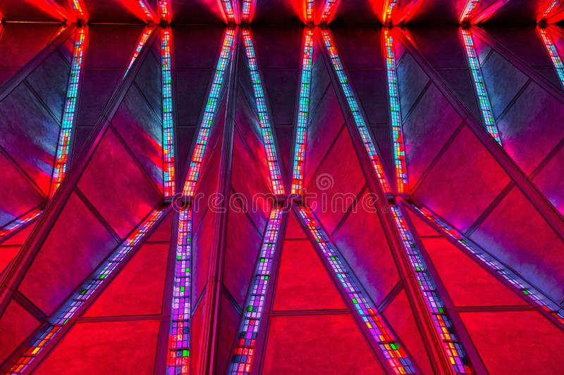 Amazingg Coloras on the Stained Glass Ceiling of the Air Force Academy Chapel royalty free stock photo