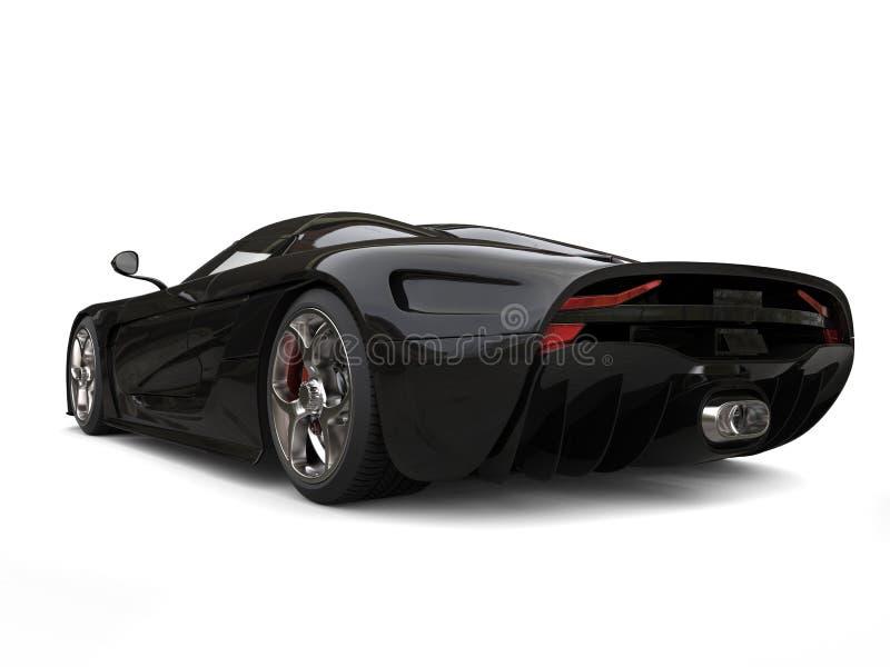 Amazing shiny black supercar - taillight view vector illustration
