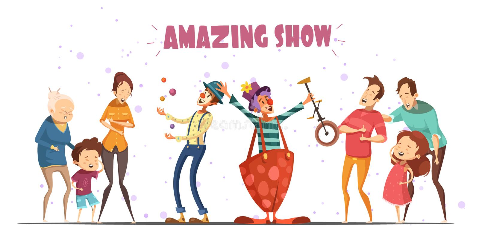 Amazing Show Laughing People Cartoon Illustration. Circle clowns amazing public show performance for hilarious laughing people with kids and grandparents retro royalty free illustration