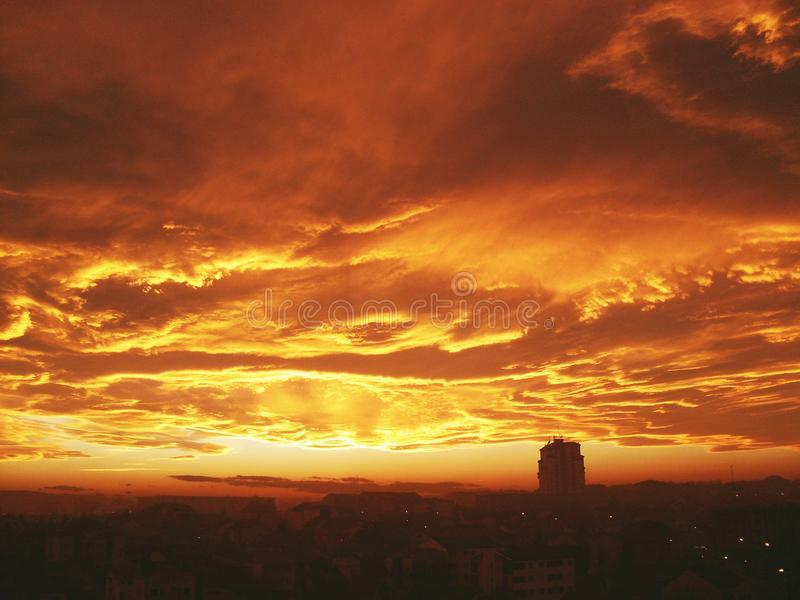 Amazing sky above Kragujevac, Serbia. Beautiful color of the clouds above the City of Kragujevac, Serbia royalty free stock photo