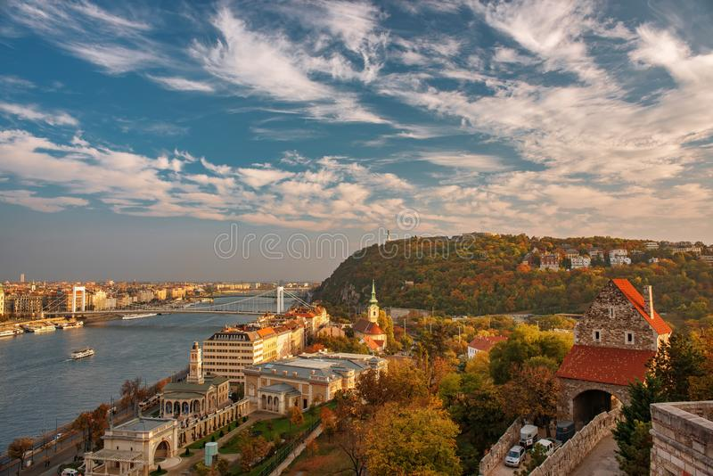 Amazing sky with picturesque clouds over Danube river and Buda hills in the central area of Budapest, Hungary. Castle gate tower, Danube embankment, Citadella royalty free stock image