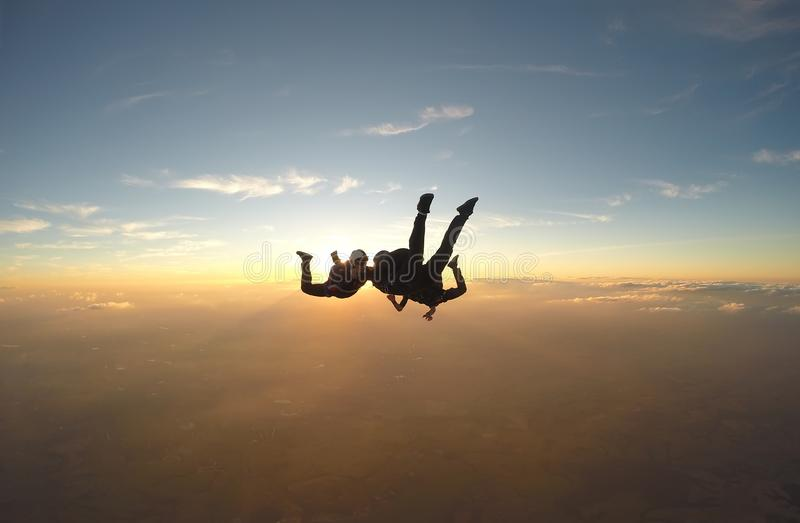 Skydivers having fun at the sunset stock photo