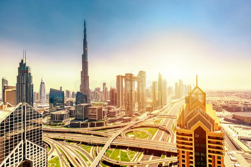 Amazing skyline cityscape with modern skyscrapers. Downtown of Dubai at sunny day during sunrise, United Arab Emirates.  royalty free stock photos
